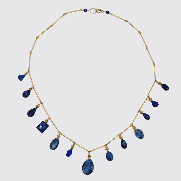 Multi Cut Lapis Necklace