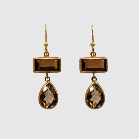 Smokey topaz bezel set stone Earrings