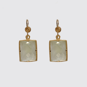Earring: Faceted Moonstone Prong Set