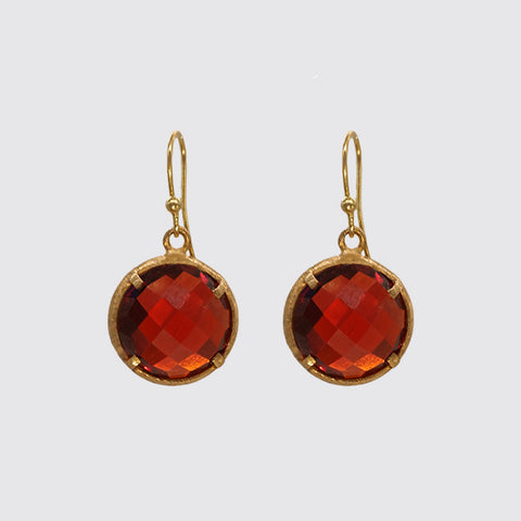 Faceted Deep Red Cubic Zirconium Earring