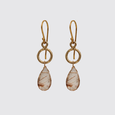 Baby Dangling Rutilated Quartz Earring