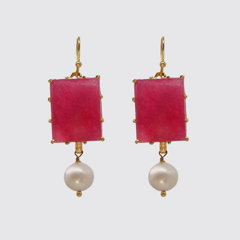 Dangle Rubellite, Fresh Water Pearl Earring