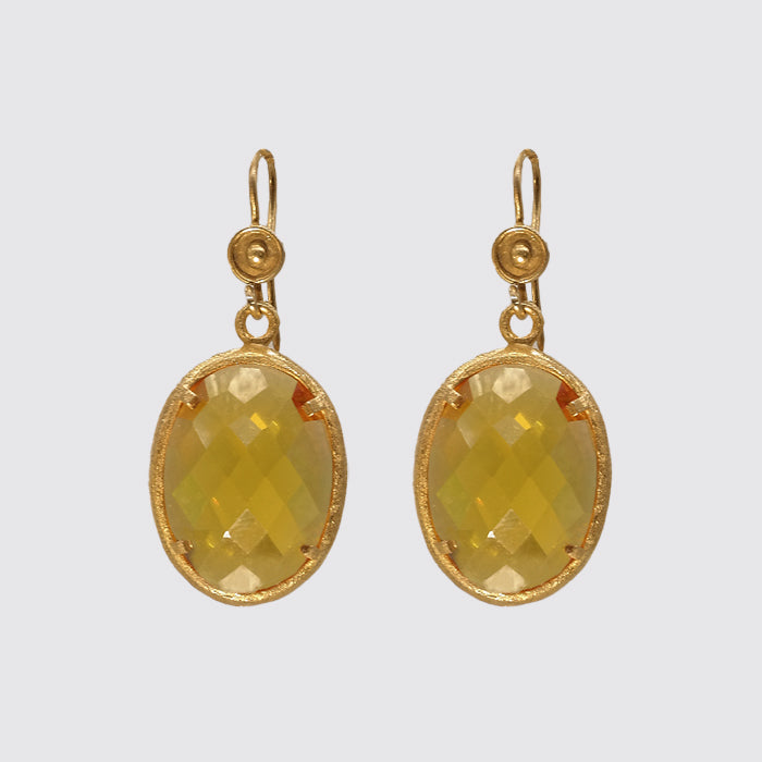 Earring: Bezel Set Faceted Citrine