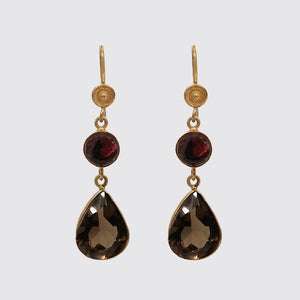 Earring: Smooth Garnet and Smokey Topaz