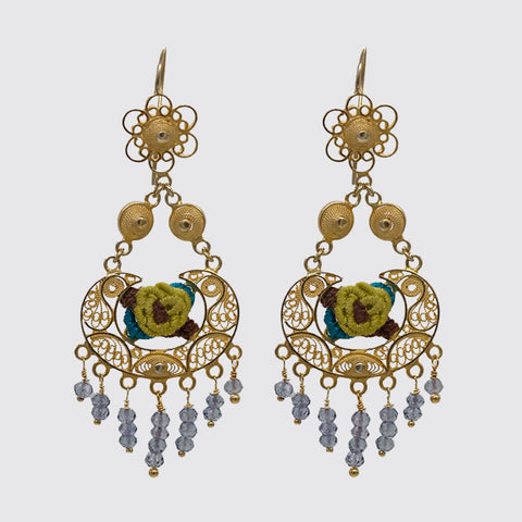 Filigree Earring with Embroidery and Gemstone drops