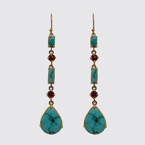 Long Gemstone Earring, Turquoise and Faceted Garnet