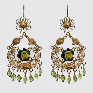 Filigree with Flower Embroidery and Peridot Drops