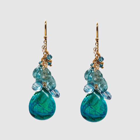 Cluster Earring with Turquoise Drop