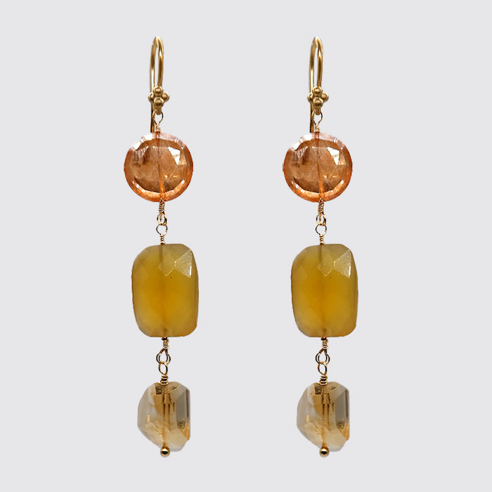 Mixed Stone Earring: Yellow CZ, Chalcedony, Faceted Citrine