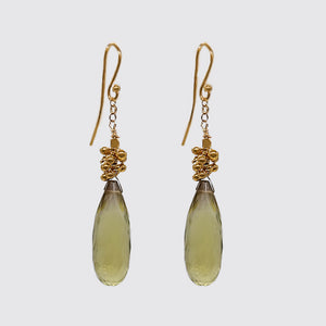 Citrine Drop Earring with Tiny balls, chain