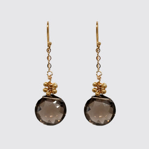 Earring:Faceted Smokey Topaz Round Briolette on chain