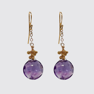 Earring: Faceted Amethyst Round Briolette on chain