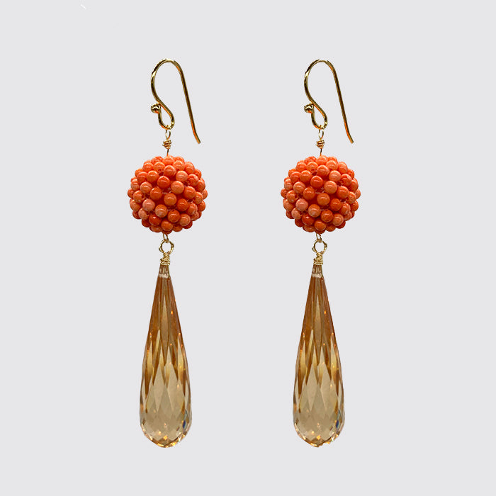 Coral, Long Tear Drop Carved Cubic Zirconium Earring