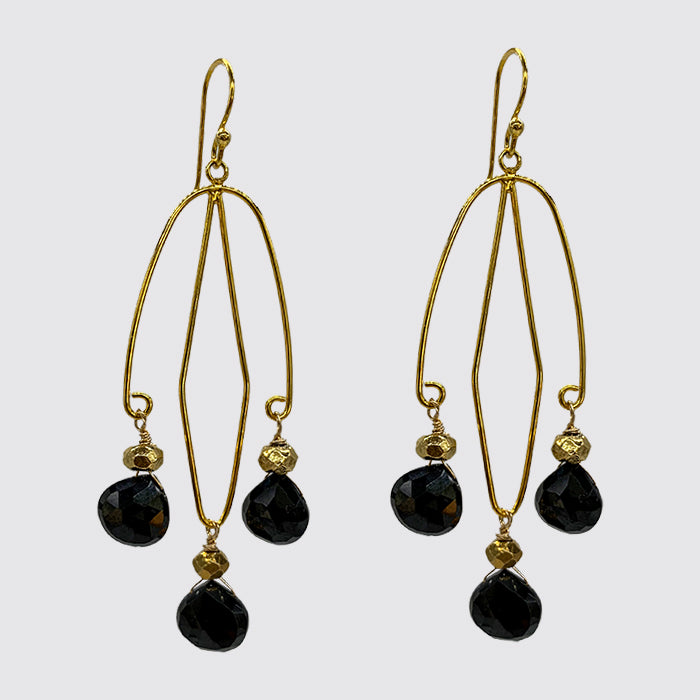 Black Faceted Onyx Briolettes on Shaped Wire Earrings