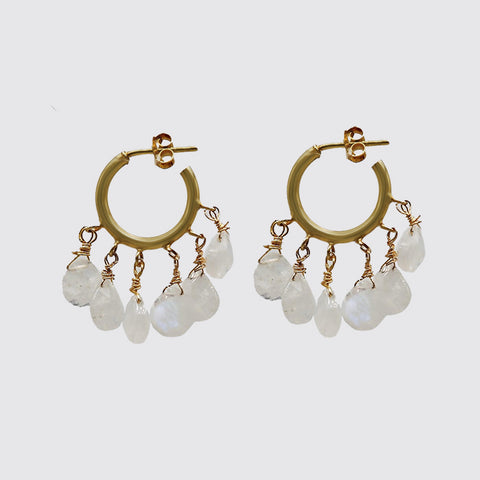 Dangling Moonstone Hoops