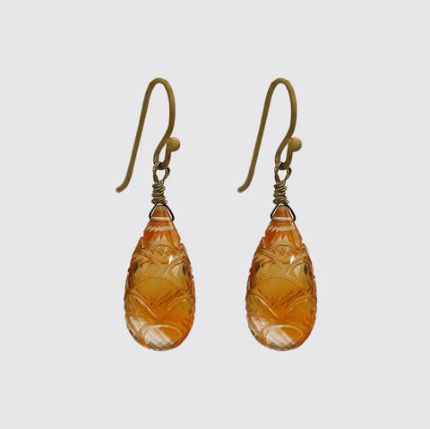 Hand Carved Amber Citrine Drop