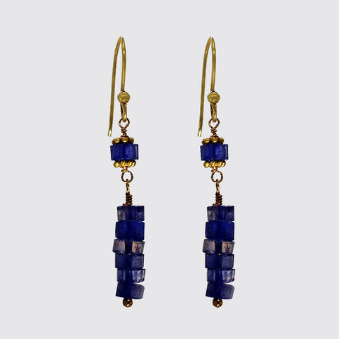 Faceted Iolite Bead Earrings