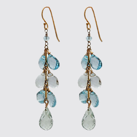 Blue Topaz Crystal Dangling Earrings