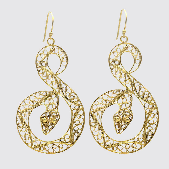 Large Filigree Snake Earrings