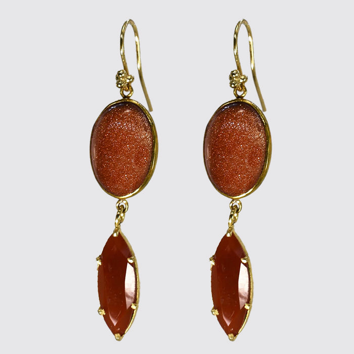 Sunstone And Carnelian Drop Earrings