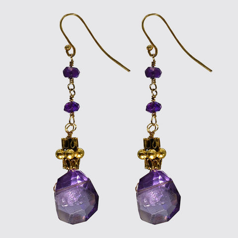 Irregular Cut Amethyst Drop Earrings