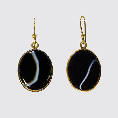 Oval Banded Agate Earrings