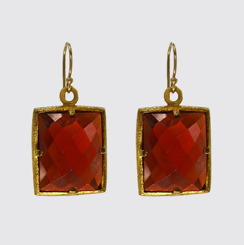Square Faceted Red Glass Earrings