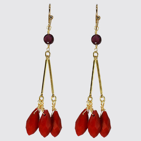 Red Faceted Cluster Dangle