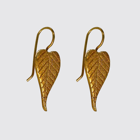 Vermeil Heart Shape Leaf Earrings