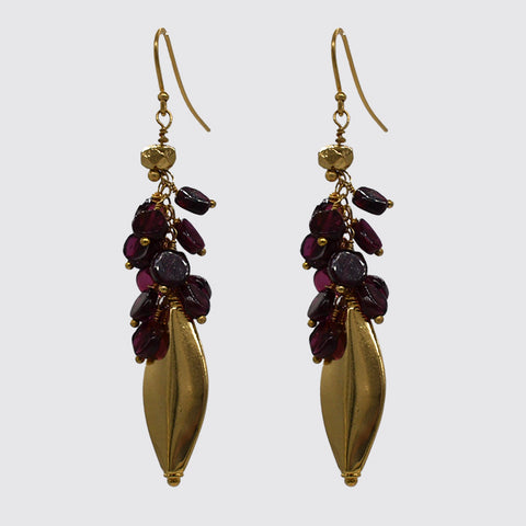Garnet Cluster And Gold Bead Drop