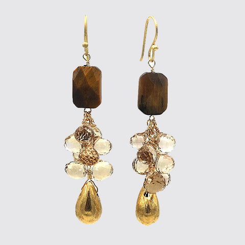Champagne Citrine & Tiger Eye Cluster Drop Earrings