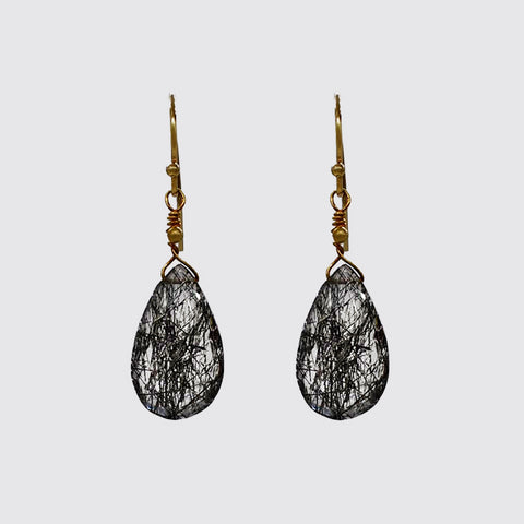 Rutilated Quartz Teardrop Earrings