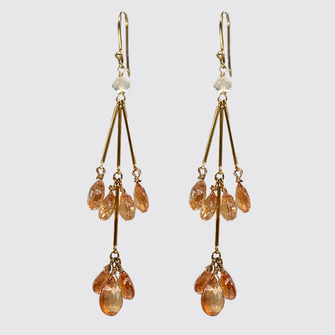 Orange CZ Dangling Earring