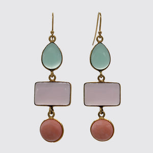 Chalcedony, Rose quartz, Opal Dangle Earring