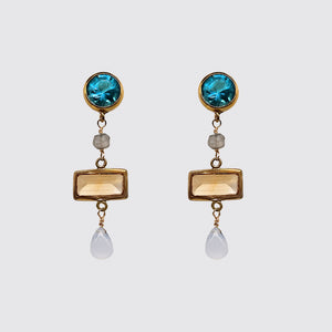 Post Blue Topaz, Faceted Citrine, Chalcedony Earring