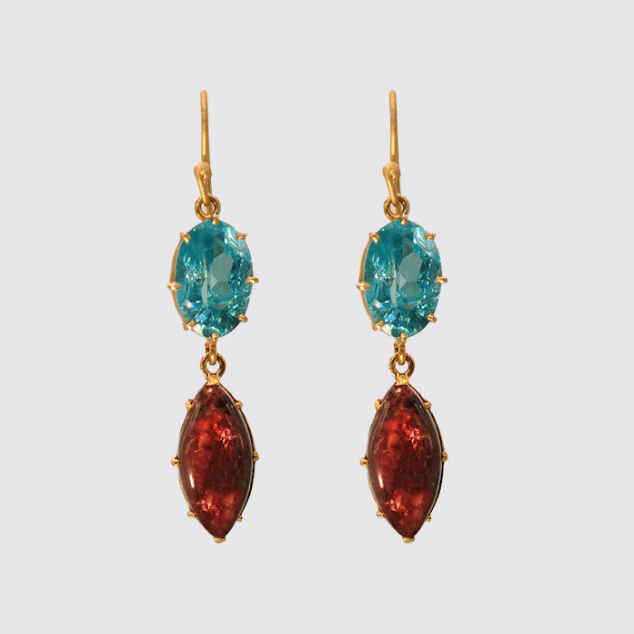 Earring: Faceted Blue Topaz,Tourmaline