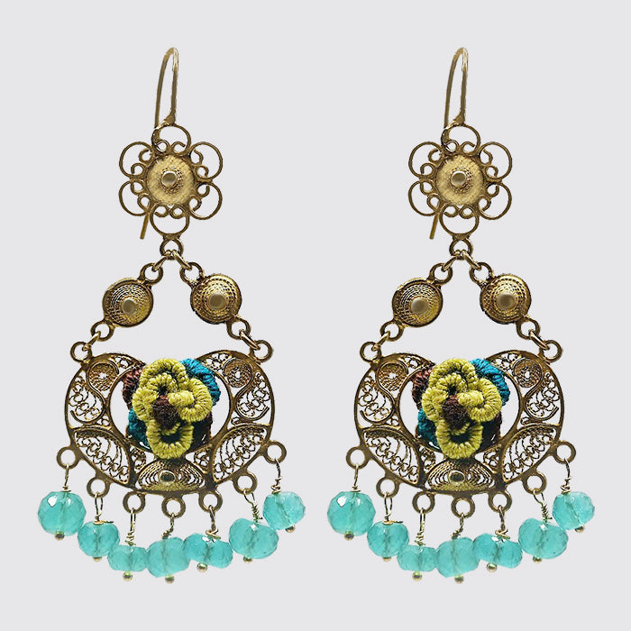 Filigree Earrings With Flower Embroidery & Green Onyx Drops