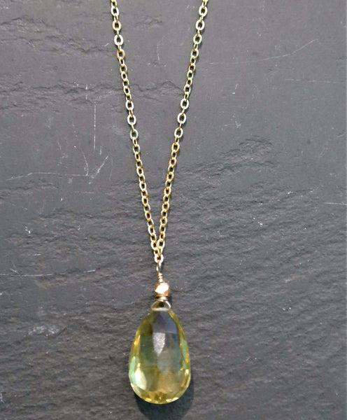 Green Citrine Teardrop Necklace