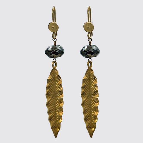 Faceted Hematite Gold Leaf Earrings