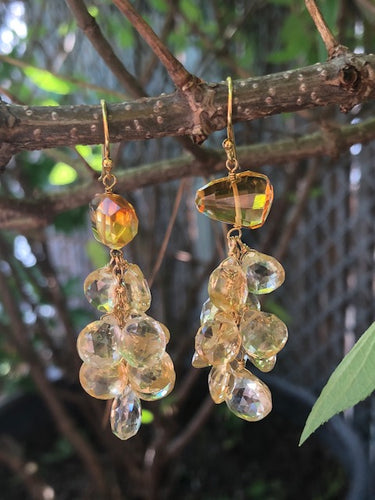 Amber Citrine Cluster Earrings