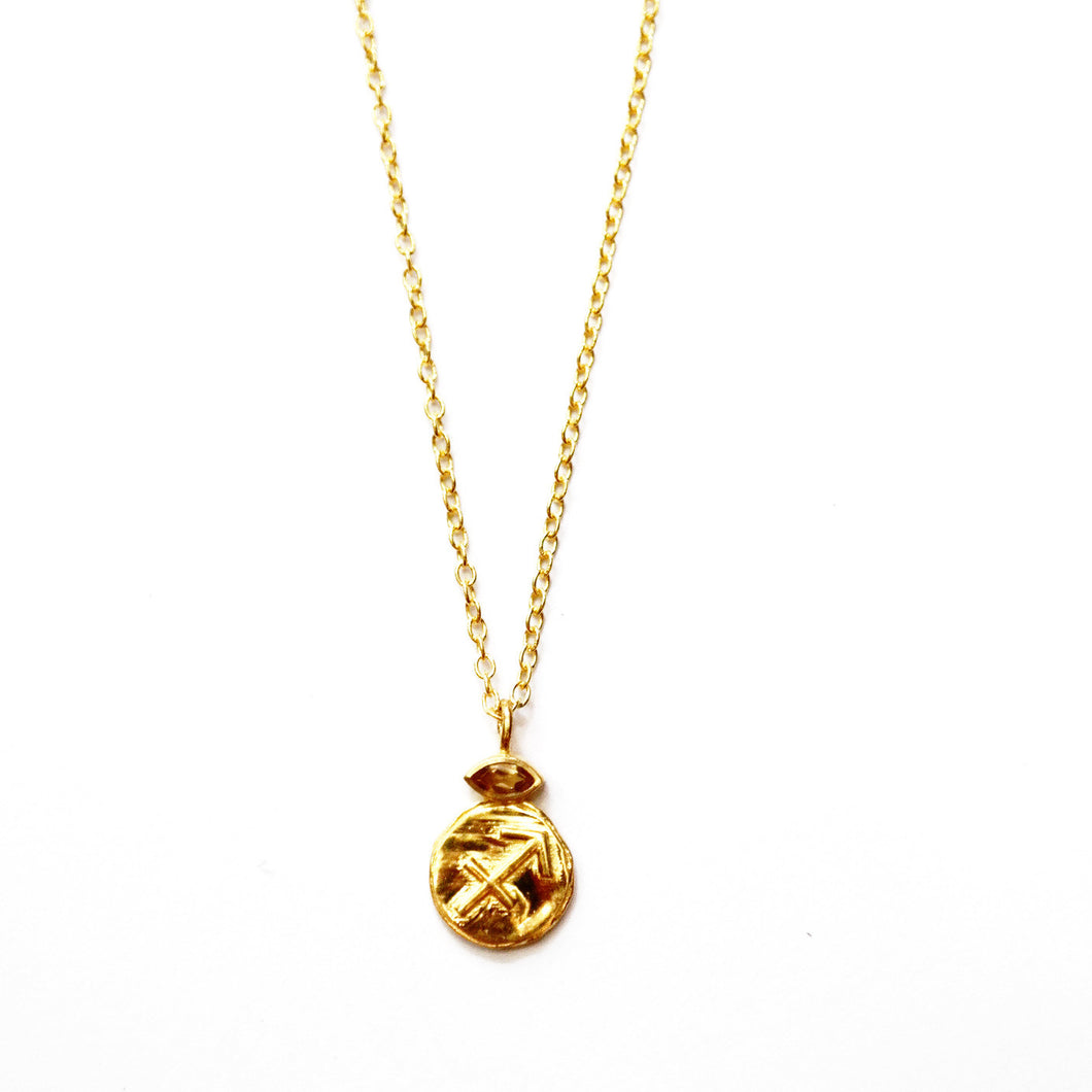 Sagittarius Citrine Charm Necklace in Gold