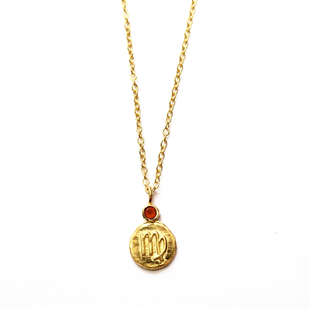 Virgo Carnelian Charm Necklace in Gold