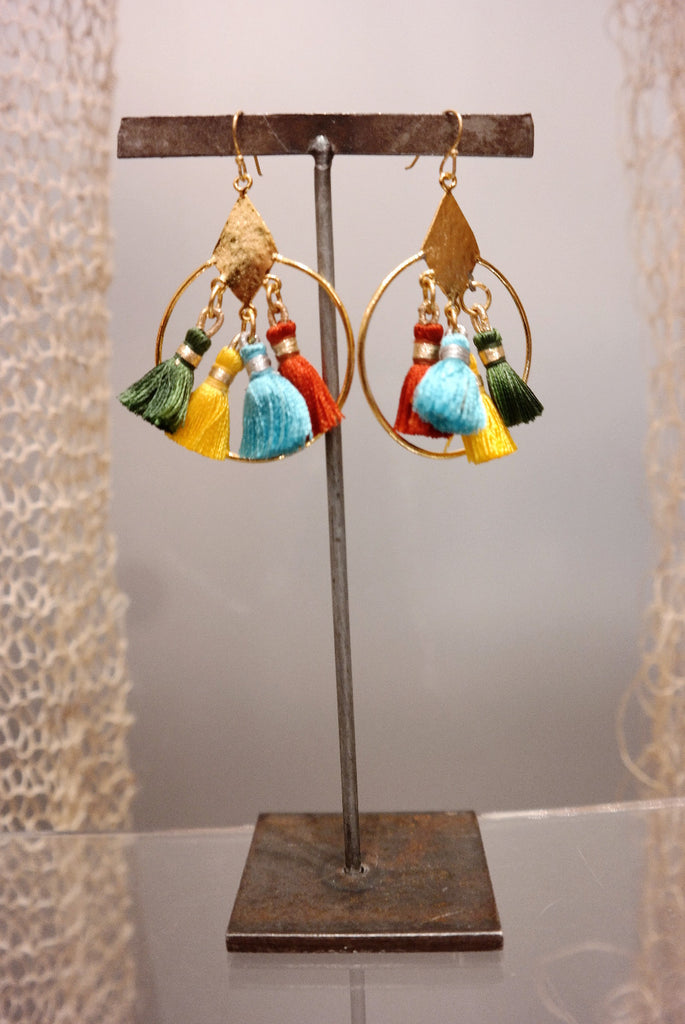 Multi Color Silk Tassel Earrings