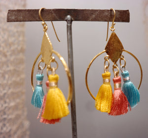 Tricolor Silk Tassel Earrings