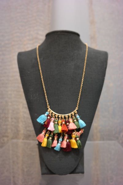 Multi Color Tassel Necklace