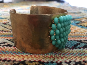 Turquoise Bead Gold Cuff Bracelet