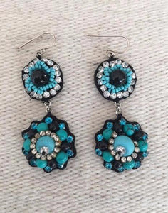 Hand Sewn Cloth Earrings With Rhinestone & Turquoise Beads