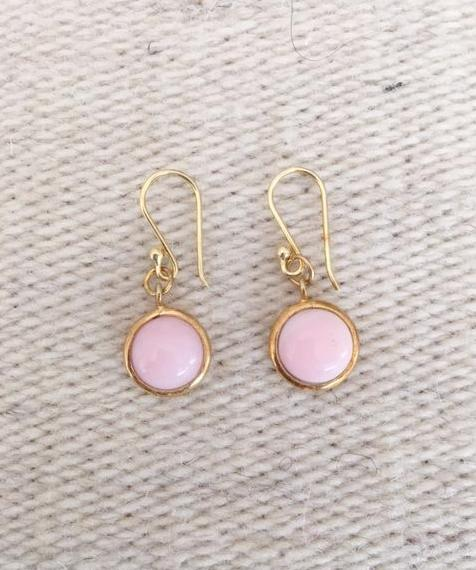 Small Pink Opal Drop Earrings