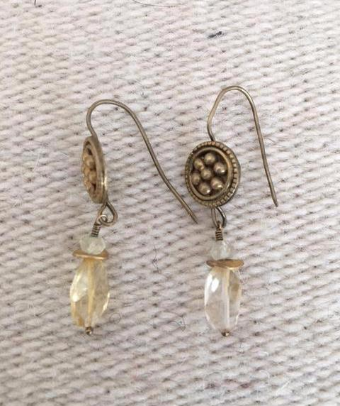 Faceted Citrine Gold Disk Earrings