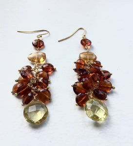 Citrine, brown garnet cluster gemstone earring